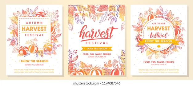 Autumn harvest festival postes with autumn leaves and floral elements in fall colors.Harvest fest design perfect for prints,flyers,banners,invitations,promotions and more.Vector autumn illustration.\r