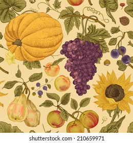 Autumn harvest. Pumpkin, sunflower, nuts and fruit on a beige background. Vector seamless vintage pattern.