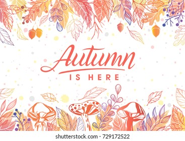 Autumn is here.Hand drawn lettering with mushrooms and leaves in autumn colors.Seasons greetings card perfect for prints,flyers,banners,invitations,special offer and more.Vector autumn illustration.