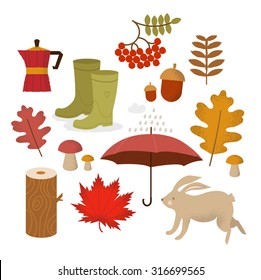 Autumn icon and objects set. Vector Illustration