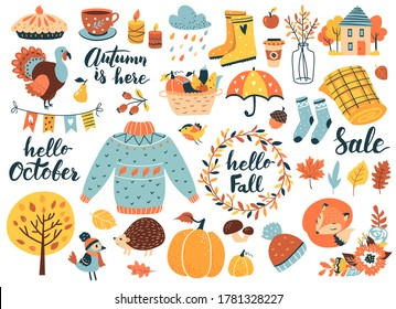Autumn icons set: falling leaves, pumpkins, sweater, cute fox, floral wreath, candles and other. Fall season elements perfect for scrapbook, card, poster, invitation, sticker kit. Vector illustration