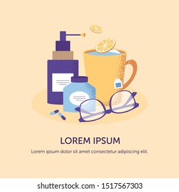 Autumn illness season design concept. Cold and sick, virus and health, flu infection, fever disease, sickness and temperature background. Tea,lemon, pills and glasses. Vector illustration