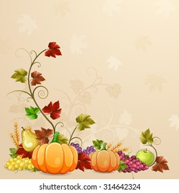 Autumn illustration for thanksgiving day.