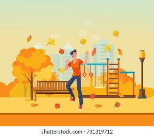 Autumn kids playground, entertainment in form of horizontal bars and swings, walking park. Autumn city park with colorful seasonal leaves. Young man listens to music and dancing. Vector illustration.