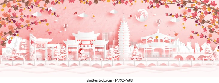 Autumn in Kunming, China with falling maple leaves and world famous landmarks in paper cut style vector illustration