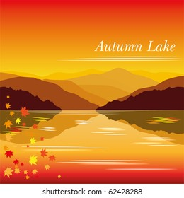 Autumn lake vector background with mountains and leaves eps 8