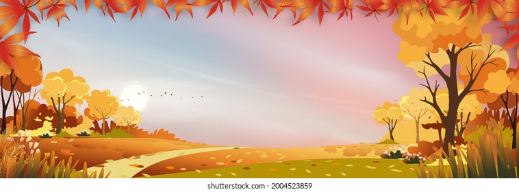 Autumn landscap of farm field with pink and blue sky,Wonderland of Mid Autumn in countryside with filds, clouds sky and Sun in Orange foliage,Vector banner for fall season or Thank giving card