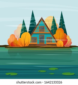 Autumn landscape with a  A-frame house or cabin on the lake. Vector illustration