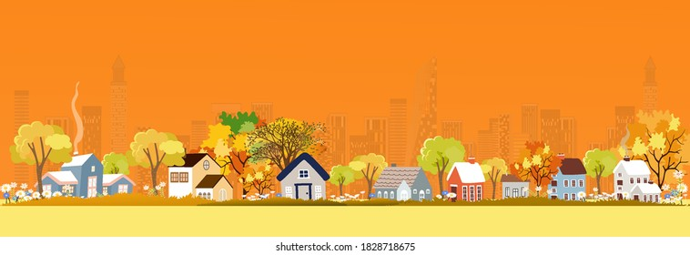 Autumn landscape in city with copy space, vector illustration panorama view cartoon Fall season in the town with orange foliage,Peaceful panoramic natural in minimalist style, Natural in the city