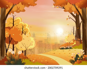 Autumn landscape with city park with pink, orange sky,Vector illustration cute cartoon in Fall season at the town in evening light with Sunset,Cityscape with grass fields and flower in  natural garden
