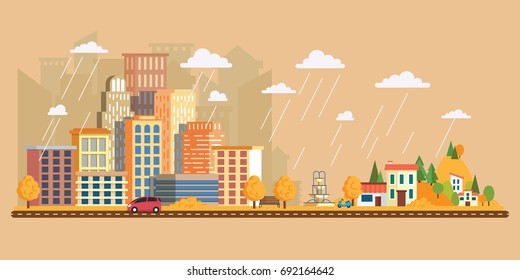 Autumn landscape in a cloudy day.Vector illustration in flat style, urban landscape with large skyline with private houses on a background hills. Asphalt road with cars.Leaf fall with rain