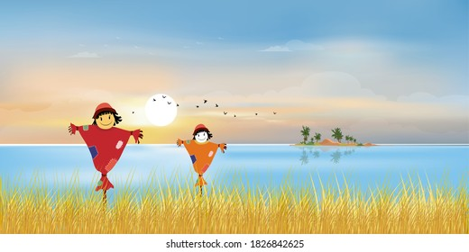 Autumn landscape with cute cartoon smiling scarecrow standing by sea with grass field,Panoramic at village by the lake with meadow in sunny day with blue sky, Vector panorama seascape in fall season