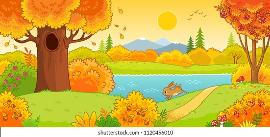 Autumn landscape. Cute hare running through the autumn forest. Vector illustration with an animal in a cartoon style.