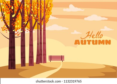 Autumn landscape, fall trees with yellow leaves, lonely bench for contemplation of autumn nature, vector, isolated, cartoon style