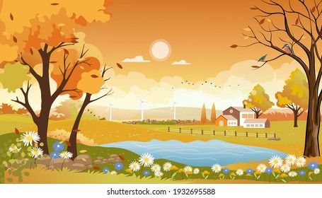 Autumn landscape of farm field with orange sky,Wonderland of Mid Autumn in countryside with cloud sky and Sun,Mountain,grass land in Orange foliage,Vector banner for fall season or Autumnal background