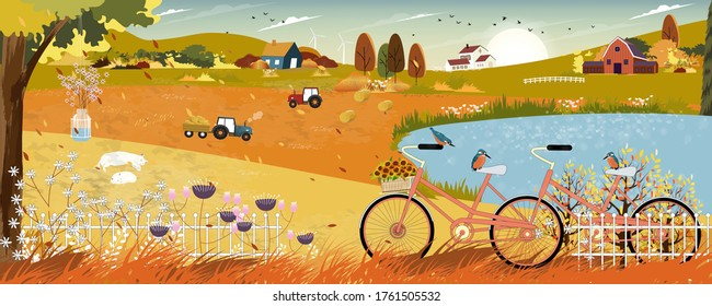 Autumn landscape with farmhouse and Kingfisher bird standing on bicycle by lake,Vector late Summer in countryside with wood barn, tractor and flowers grass fields on hills.Eco Farming agriculture