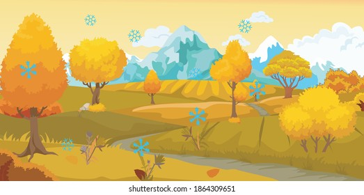 autumn landscape, first snow, yellow trees and mountains, countryside, flat vector illustration