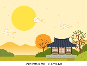 Autumn landscape with Korean traditional house and full moon.Mid autumn festival(Chuseok)background