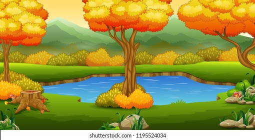 Autumn landscape with rivers and trees