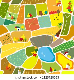 Autumn landscape seamless pattern with houses, trees and lake, tourism map. Vector graphic illustration