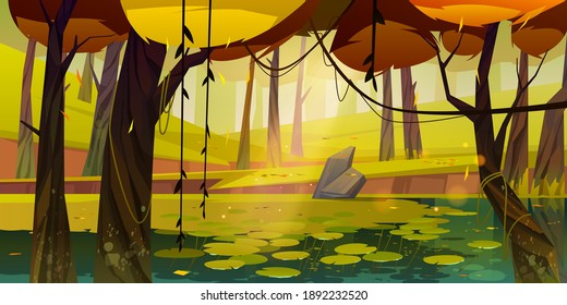 Autumn landscape with swamp in forest. Vector cartoon illustration of pond with water lilies, trees with yellow foliage, green grass and stone. Natural park, garden or wood with lake at fall