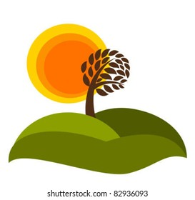 Autumn landscape with tree. Vector illustration isolated