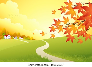 Autumn Landscape. Vector Background