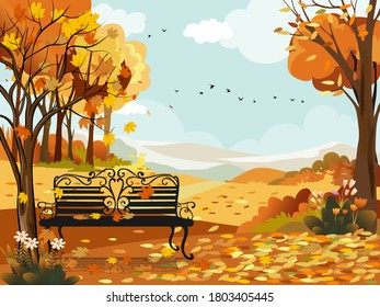 Autumn landscape wonderland forest with bench under the tree,Mid autumn natural in orange foliage,Fall season with beautiful panoramic view  maples leaves falling from trees