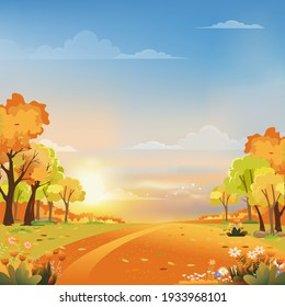 Autumn landscape wonderland forest with grassland, Mid autumn landscape with maples orange foliage trees and leaves falling in, Fall season with beautiful panoramic view of sunset with pink, orange and blue sky