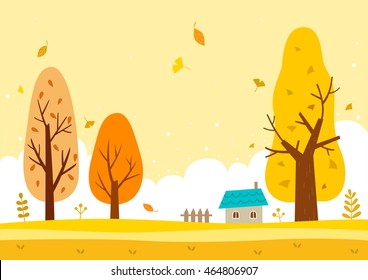 Autumn landscape with the yellow sky and yellow trees