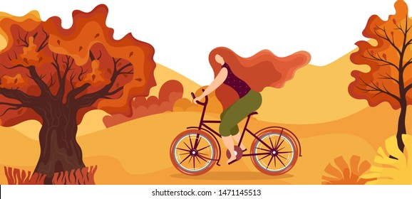 Autumn landscape.Cyclist in the park.Panoramic of countryside landscape with cyclist,oak,maple.Cartoon yellow orange fall tree and autumnal garden bush