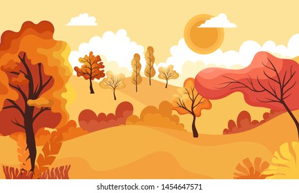 Autumn landscape.Panoramic of countryside landscape.Cartoon yellow orange fall tree and autumnal garden bush icon with fall season gold leaves for city park and forest.
