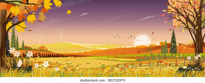 Autumn landscapes of Countryside with sunset and purple sky,Panoramic of mid autumn with farm field, mountains, wild grass and leaves falling from trees in orange foliage. Wonderland in fall season