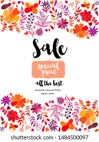 Autumn leaf banner with copy space. Autumn theme greeting card. Fall leaves. Perfect for wedding invitations, greeting cards, blogs, prints and more.