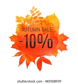 Autumn leaf foliage watercolor. Autumn sale - 10 % off . Fall sale. Web banner or poster for e-commerce, on-line cosmetics shop, fashion & beauty shop, store. Vector illustration. EPS 10