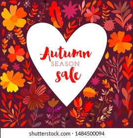 Autumn leaf heart shape wreath. Fall leaves heart frame. Perfect for wedding invitations, greeting cards, blogs, prints and more.