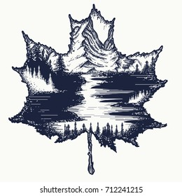 Autumn leaf and mountains tattoo and t-shirt design. Symbol of nature, fall, travel, tourism, adventure, outdoors