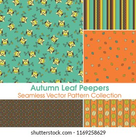 Autumn Leaf Peeper Seamless Vector Pattern Collection. Great owls print and supporting retro colored patterns perfect for back to school. Repeating patterns are great for backgrounds.