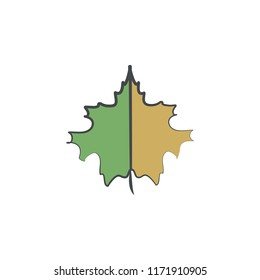 Autumn, Leaf sag colored hand drawn icon. Element of autumn icon for mobile concept and web apps. Hand drawn colored Autumn, Leaf sag can be used for web and mobile on white bakgorund