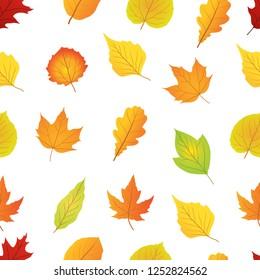 autumn leaf seamless pattern vector, leafs pattern
