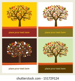 Autumn leaf tree vector background with sample text
