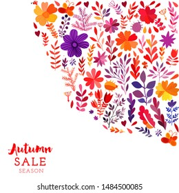 Autumn leaf watercolor flowers card. Autumn theme greeting card. Fall leaves. Perfect for wedding invitations, greeting cards, blogs, prints and more
