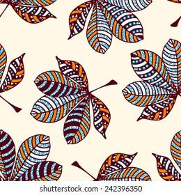 Autumn leafs retro fashion seamless pattern - vector illustration