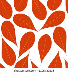 Autumn leafs seamless vector pattern, on white isolated background. Texture for web and print design, cover, poster. EPS 10.