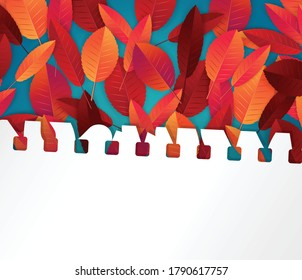 Autumn leaves background. Fall banner template. Red and orange foliage on torn out sheet of paper. Thanksgiving season holiday concept. Realistic 3d vector illustration.