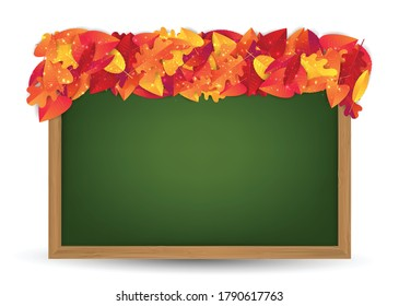 Autumn leaves background. Fall banner template. Red and orange foliage on chalkboard in a wooden frame. Thanksgiving season holiday concept. Realistic 3d vector illustration.