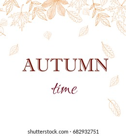 Autumn leaves background. Hand drawn vector fall of the leaves illustration. Autumn leaves draw the outline. Sketch, design elements. Doodles.