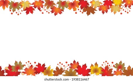 Autumn Leaves Border isolated on White. Red, yellow and orange fall leaves with copy space. Fall foliage frame for text. Editable vector illustration, EPS10.