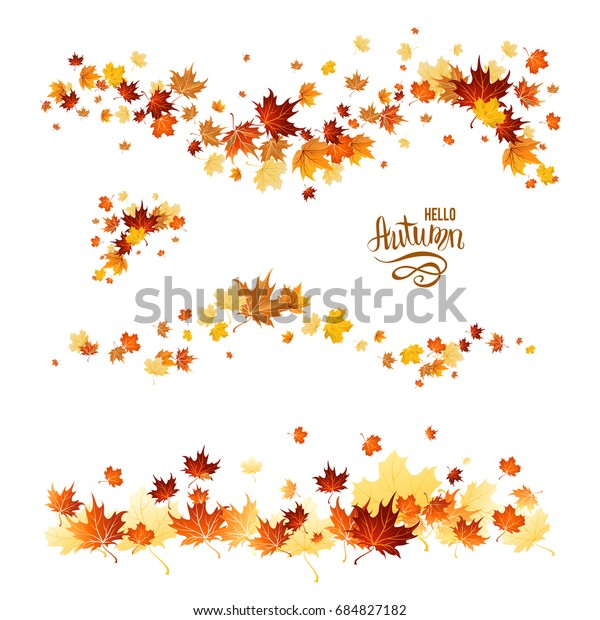 Autumn leaves borders. Nature design elements set. Fall maple leaves for decoration.