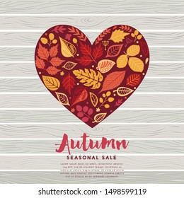 Autumn leaves card. Fall autumn leaves in the shape of heart. Nature symbol vector collection.
